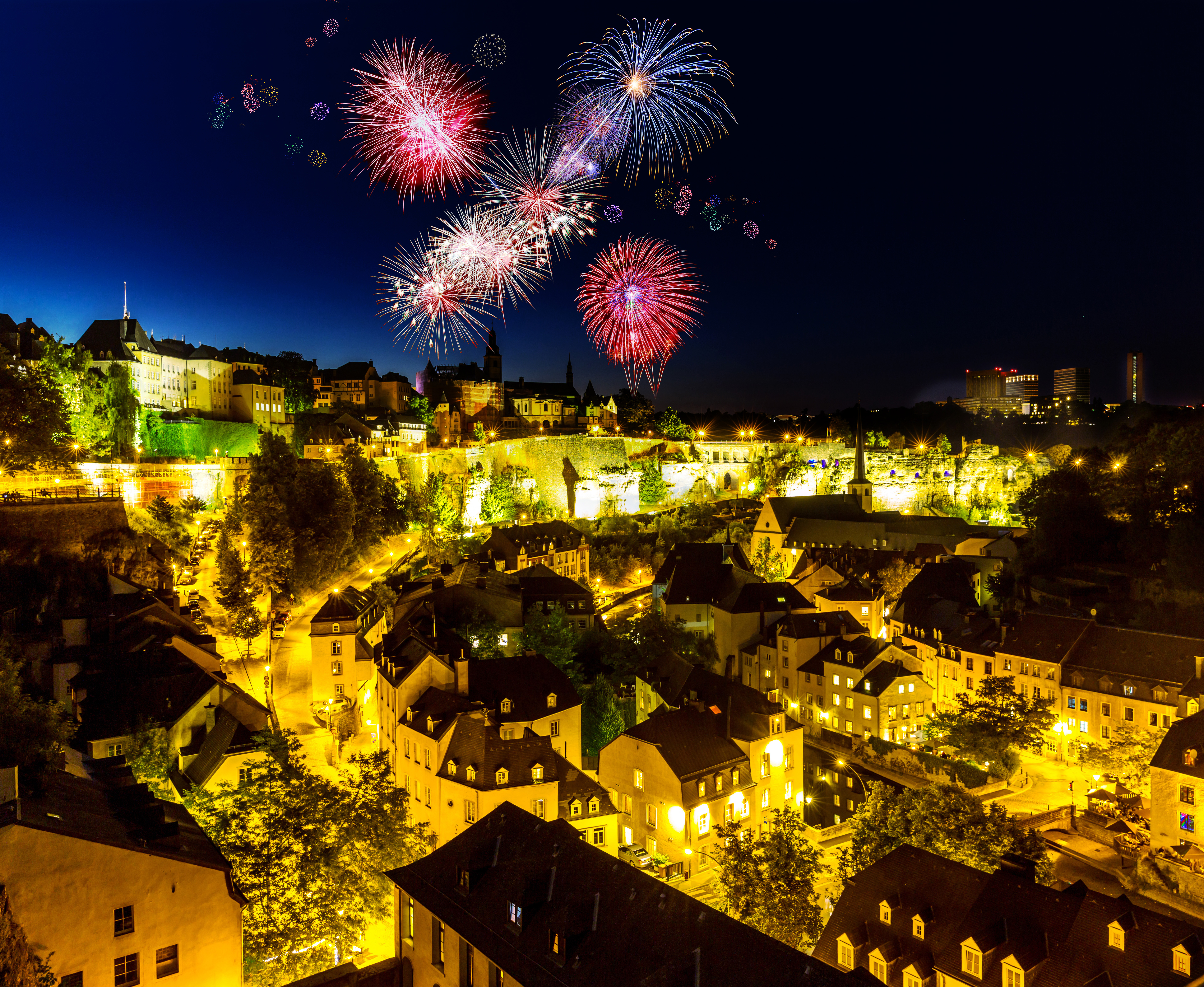 luxembourg, feux d'artifice, luxembourg ville
